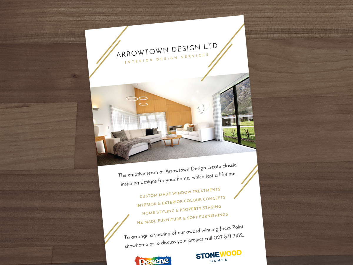 Arrowtown design total brand logo design branding graphic this stylish rack card was produced to introduce the business to new clients a promotional campaign was reheart Gallery